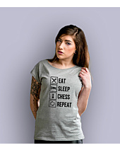 Eat Sleep Chess T-shirt damski Jasny melanż XS