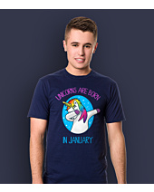 Unicorns are born in January T-shirt męski Granatowy L