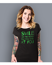 Smile and the world will smile T-shirt damski Czarny S