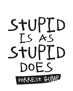 Stupid is as Stupid does - Forrest Gump
