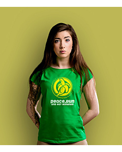 Peace run bananas T-shirt damski Zielony XS