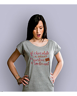 Chocolate Is The Answer T-shirt damski Jasny melanż XS