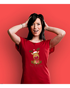 Rudolph The Red Nosed Reindeer T-shirt damski Czerwony XS