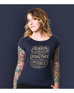 Always look on the DarkSide of the Force T-shirt damski Granatowy XS