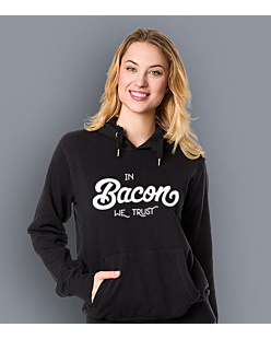 In Bacon We trust Damska bluza z kapturem Czarna XL