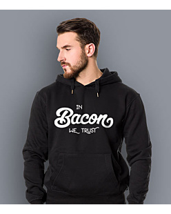In Bacon We trust Męska bluza z kapturem Czarna XXL