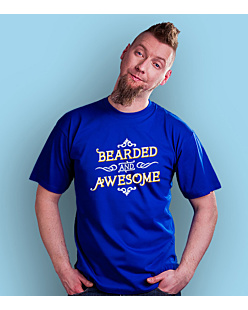 Bearded and awesome T-shirt męski Niebieski S