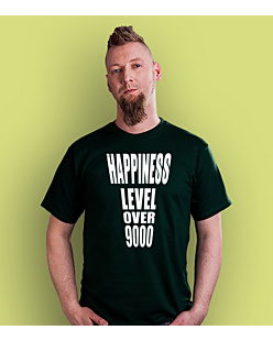 Happiness level over 9000  T-shirt męski Ciemnozielony S