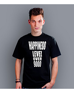 Happiness level over 9000  T-shirt męski Czarny S