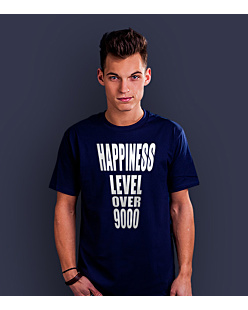 Happiness level over 9000  T-shirt męski Granatowy S
