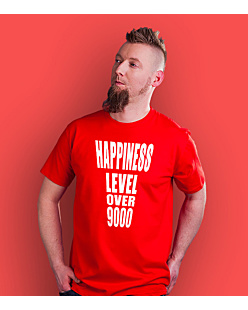 Happiness level over 9000  T-shirt męski Czerwony S