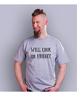 Will cook for money T-shirt męski Jasny melanż S