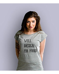 Will design for food bkw T-shirt damski Jasny melanż XS