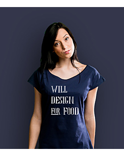 Will design for food bkw T-shirt damski Granatowy XXL