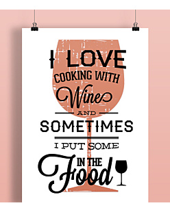Love cooking with wine Plakat Biały A2