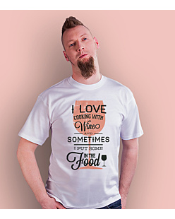 Love cooking with wine T-shirt męski Biały S