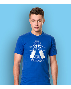 Drink beer with friends T-shirt męski Niebieski S