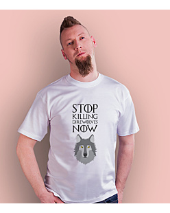 Stop killing direwolves now T-shirt męski Biały S