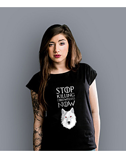 Stop killing direwolves now T-shirt damski Czarny XS