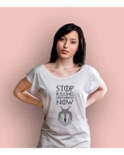Stop killing direwolves now T-shirt damski Biały XS