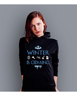 Winter is coming  Damska bluza z kapturem Czarna S