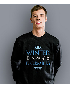 Winter is coming  Bluza prosta męska Czarna S