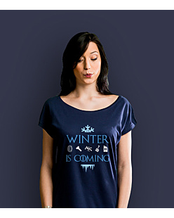 Winter is coming  T-shirt damski Granatowy XS