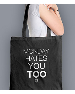 Monday hates you too Torba na zakupy Czarna Universal