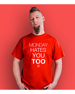 Monday hates you too T-shirt męski Czerwony S