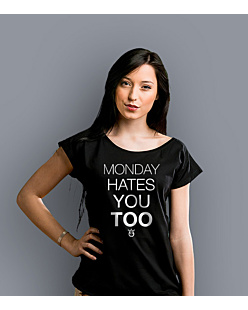 Monday hates you too T-shirt damski Czarny XS