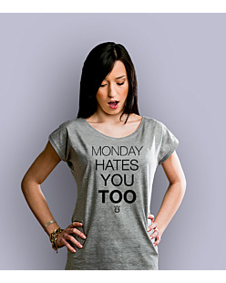 Monday hates you too T-shirt damski Jasny melanż XS