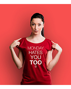 Monday hates you too T-shirt damski Czerwony XS