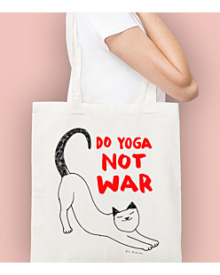 Do Yoga Not War Cat Torba na zakupy Naturalna Universal