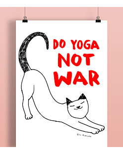 Do Yoga Not War Cat Plakat Biały A2