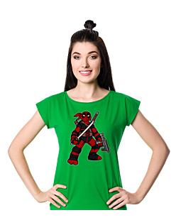 Ninja Deadpool + T-shirt damski Zielony XS