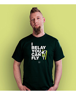 I Belay You Can Fly T-shirt męski Ciemnozielony S