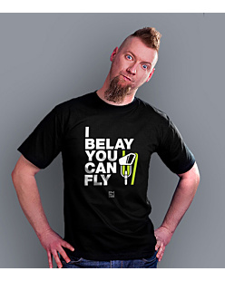 I Belay You Can Fly T-shirt męski Czarny S