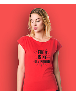 Food is my bestfriend T-shirt damski Czerwony XXL