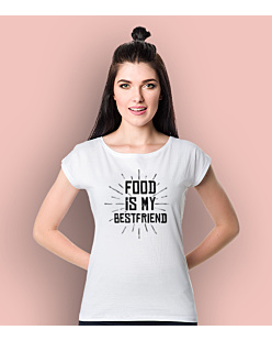 Food is my bestfriend T-shirt damski Biały L