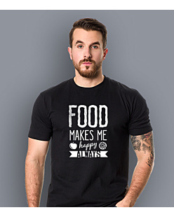 Food Makes Me  Happy T-shirt męski Czarny XXXXL