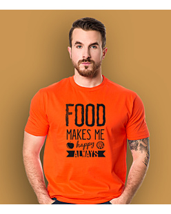 Food Makes Me  Happy T-shirt męski Pomarańczowy XXL