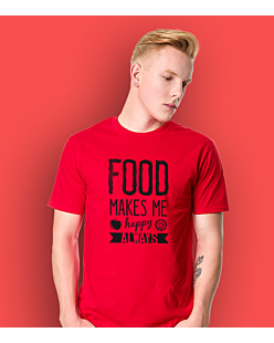 Food Makes Me  Happy T-shirt męski Czerwony XL