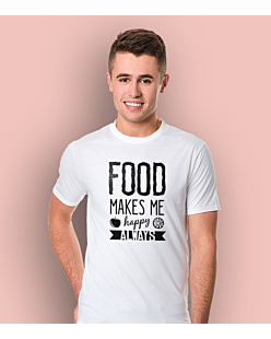 Food Makes Me  Happy T-shirt męski Biały XXL