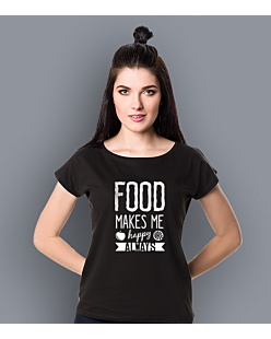 Food Makes Me  Happy T-shirt damski Czarny XXL
