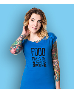 Food Makes Me  Happy T-shirt damski Niebieski XXL