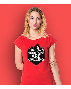 Mountains are Calling 3 T-shirt damski Czerwony XS