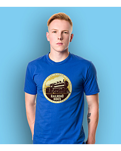 Vintage Steam Train T-shirt męski Niebieski XXL