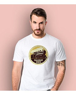 Vintage Steam Train T-shirt męski Biały S