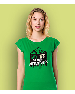Say Yes to new Adventures T-shirt damski Zielony XS