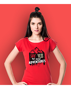 Say Yes to new Adventures T-shirt damski Czerwony XS